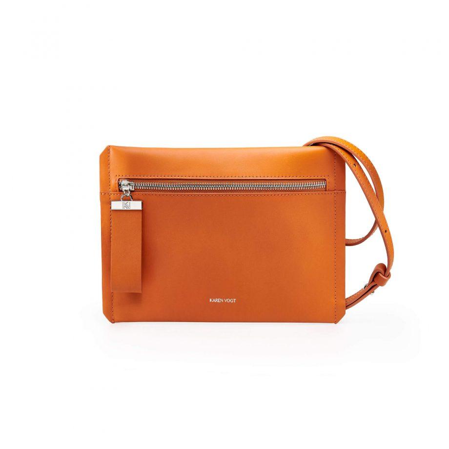 pochette-bandoulière-cuir-lisse-orange-rust-indécise-karenvogt-1