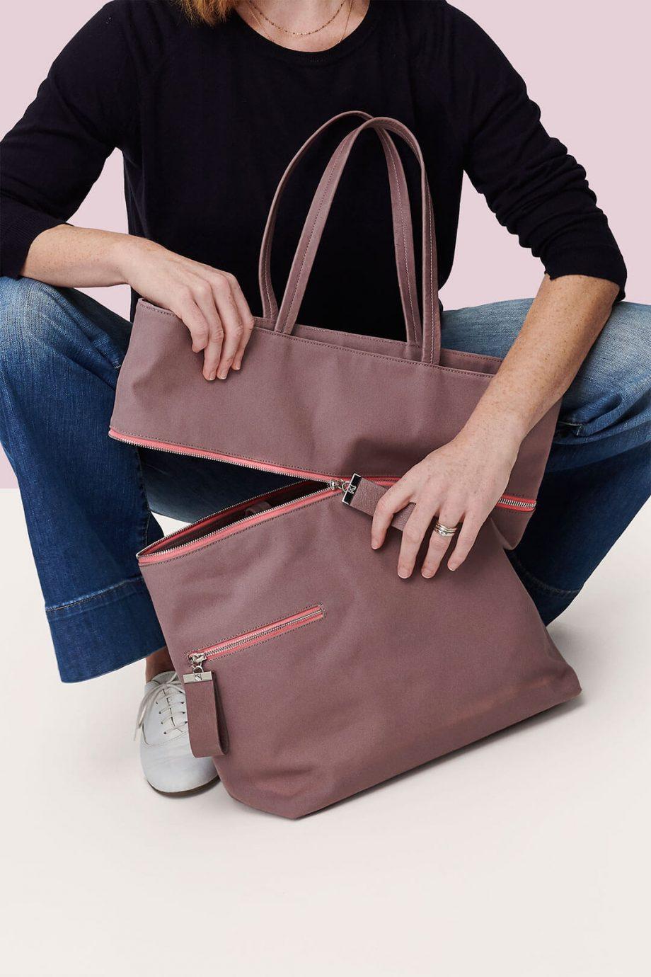 sac-voyage-toile-gris-rosé-zip-rose-téméraire-karenvogt-5
