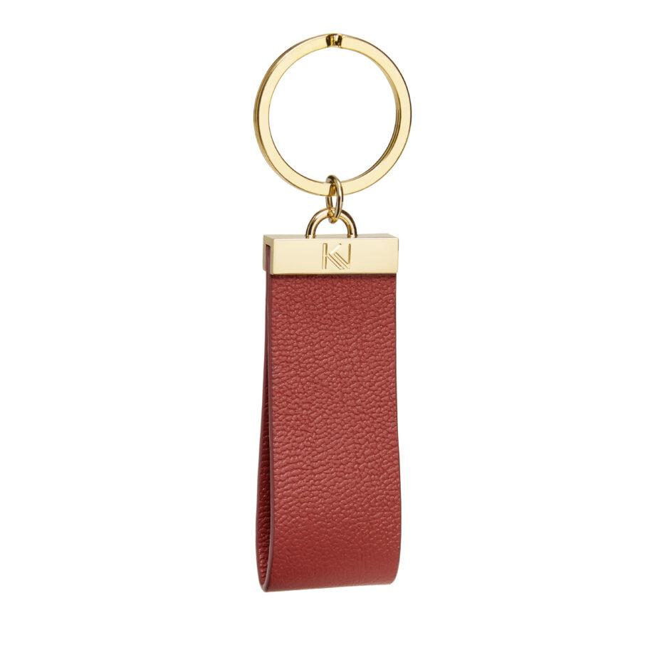 • porte-clés-cuir-grainé-framboise-metal-doré-ingénieux-karenvogt-1