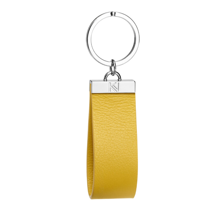 • porte-clés-cuir-lisse-jaune-metal-nickel-ingénieux-karenvogt-1