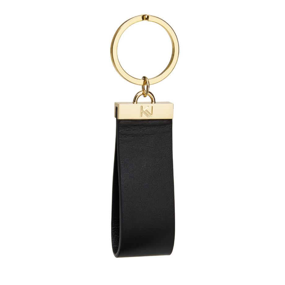 • porte-clés-cuir-lisse-noir-metal-doré-ingénieux-karenvogt-1